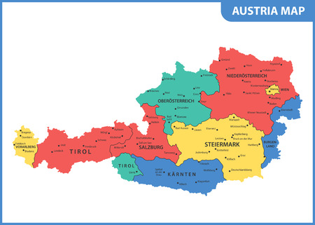The detailed map of the Austria with regions or states and cities, capital Ilustrace