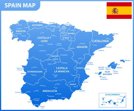 The detailed map of the Spain with regions or states and cities, capitals, national flag 向量圖像