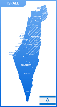 The detailed map of the Israel with regions or states and cities, capitals, national flag Illustration