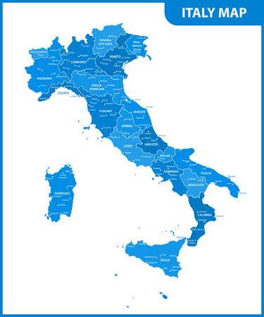 지역 또는 주와 도시, 수도가있는 이탈리아의 상세지도