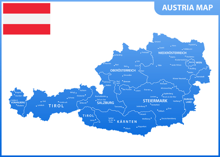 The detailed map of the Austria with regions or states and cities, capital, national flag Illustration