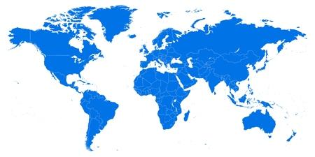 Zeer gedetailleerde wereldkaart. Vector illustratie, sjabloon Stockfoto - 91116150