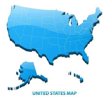地域枠で米国の 3 つの次元マップは非常に詳細。アメリカ合衆国。