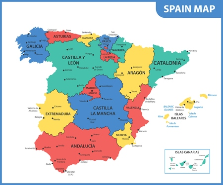 The detailed map of the Spain with regions or states and cities, capitals