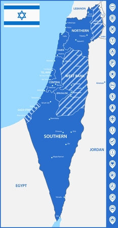 The detailed map of Israel with regions or states and cities, capitals. With map pins or pointers. Place location markers or signs
