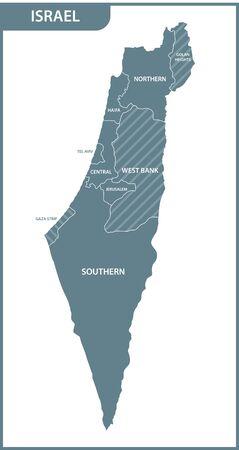 領域のイスラエル共和国の詳細地図  イラスト・ベクター素材