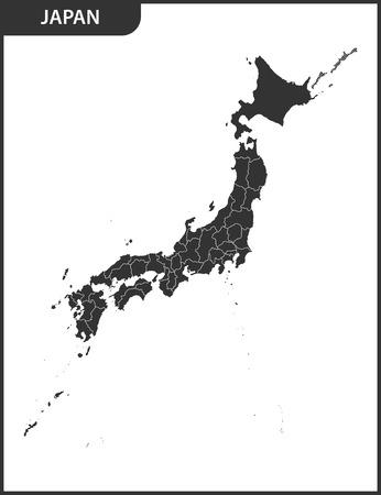 地域と日本の詳細な地図。  イラスト・ベクター素材
