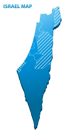 Highly detailed three dimensional map of Israel with regions border