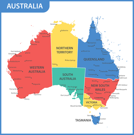 The detailed map of the Australia with regions or states and cities, capitals