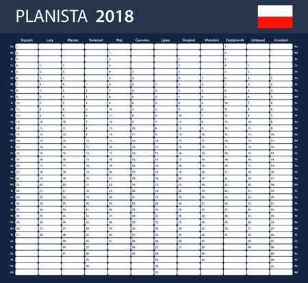Polish Planner blank for 2018. Scheduler, agenda or diary template.