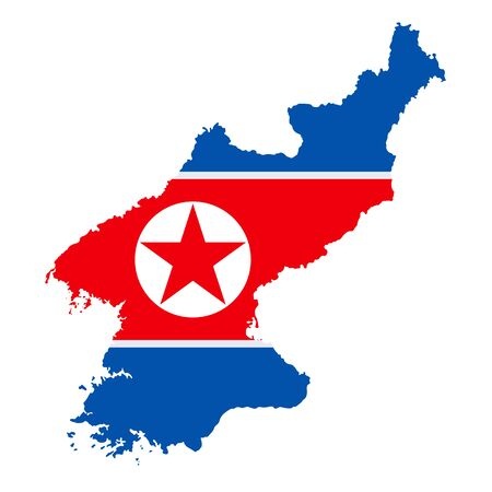 The detailed map of the North Korea with National Flag