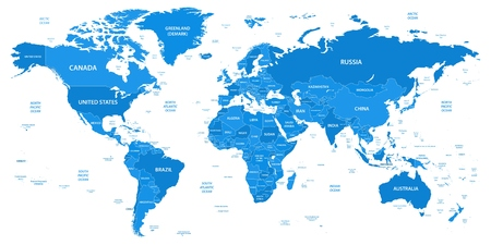 Gedetailleerde wereldkaart met randen, landen, waterobjecten