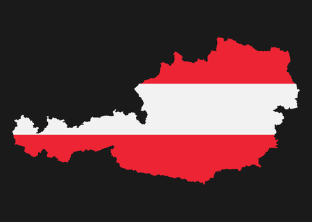 The detailed map of the Austria with National Flag