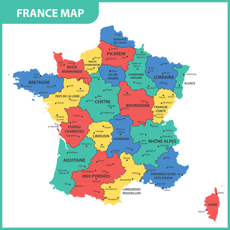 The detailed map of the France with regions or states and cities, capital Vettoriali