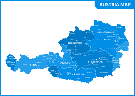 The detailed map of the Austria with regions or states and cities, capital Illustration