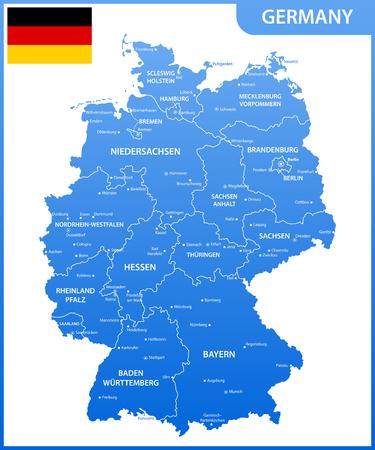 地域または州と都市、首都、国旗とドイツの詳細な地図  イラスト・ベクター素材