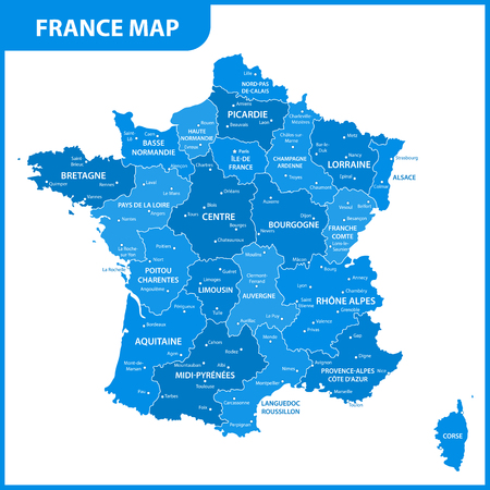 The detailed map of the France with regions or states and cities, capital Illustration
