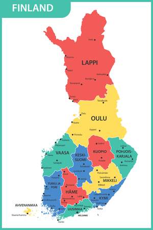 The detailed map of the Finland with regions or states and cities, capitals