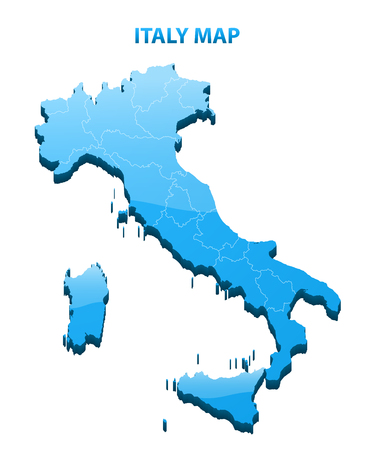 Highly detailed three dimensional map of Italy 向量圖像