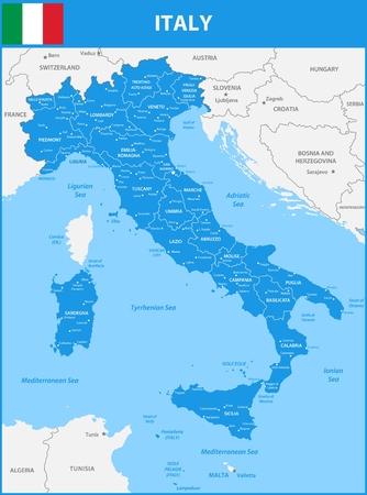 지역 또는 주 및 도시, 수도와 이탈리아의 상세한지도. 바다 물체와 섬들. 주변국의 일부