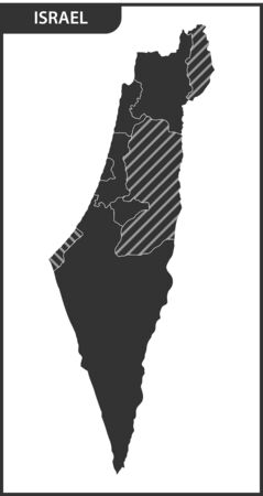 The detailed map of the Israel with regions