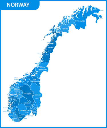 The detailed map of the Norway with regions or states and cities, capitals Illustration