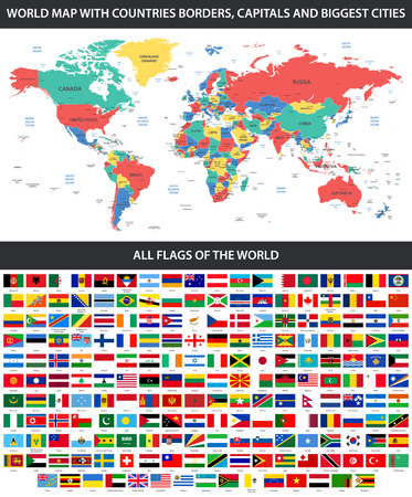 All flags of the world in alphabetical order and Detailed world map with borders, countries, large cities