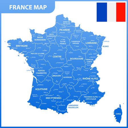 The detailed map of the France with regions or states and cities, capital, national flag Ilustrace