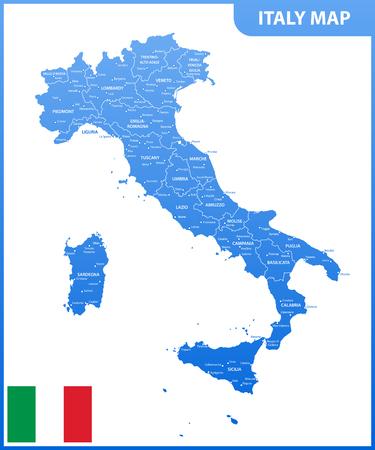 地域または州と都市、首都、国旗とイタリアの詳細地図