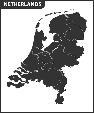 The detailed map of Netherlands with regions. Administrative division. 矢量图像