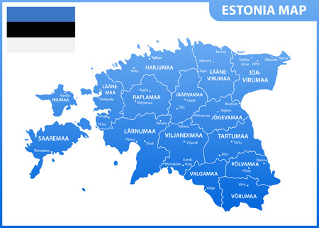 The detailed map of Estonia with regions or states and cities, capital. Administrative division