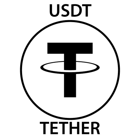 Tether cryptocurrency blockchain icon. Virtual electronic, internet money or cryptocoin symbol Illustration