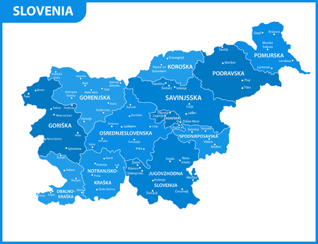 The detailed map of Slovenia with regions or states and cities, capitals. Administrative division