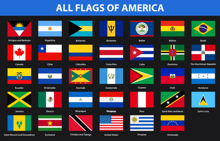 Flags of all countries of American continents. Flat style