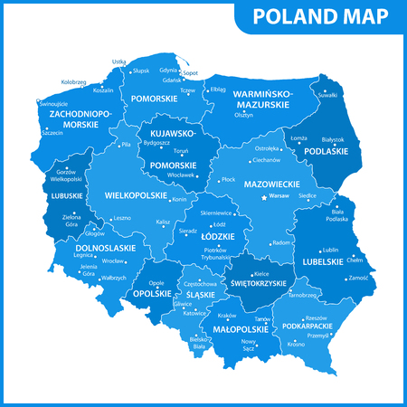 The detailed map of Poland with regions or states and cities, capitals. Administrative division
