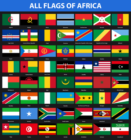 Set of flags of all African countries. Flat style Illustration