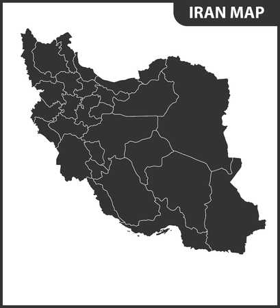 The detailed map of Iran with regions or states. Administrative division.