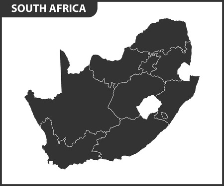 The detailed map of South Africa with regions or states. Administrative division Illustration