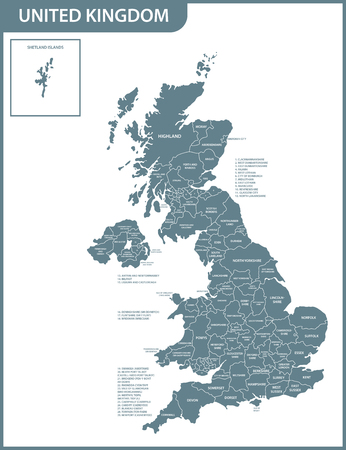 The detailed map of the United Kingdom with regions or states. Actual current relevant UK, Great Britain administrative devision. 스톡 콘텐츠 - 102192564