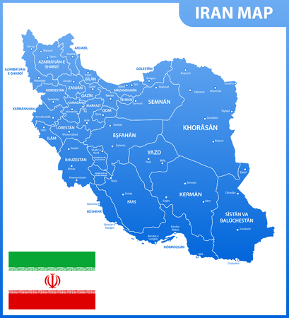 The detailed map of Iran with regions or states and cities, capital. Administrative division. Illustration