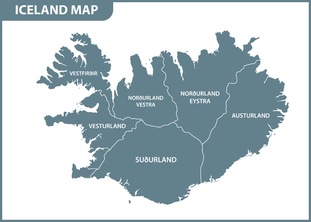 The detailed map of Iceland with regions or states. Administrative division