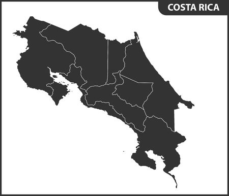 The detailed map of Costa Rica with regions or states. Administrative division