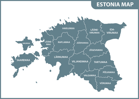 The detailed map of Estonia with regions or states. Administrative division