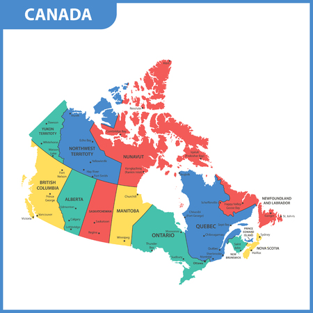 The detailed map of the Canada with regions or states and cities, capitals