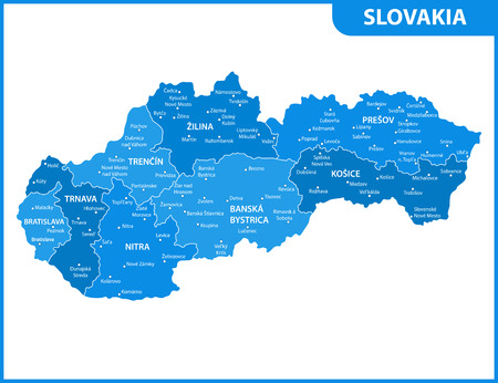 The detailed map of Slovakia with regions or states and cities, capitals. Administrative division Illustration