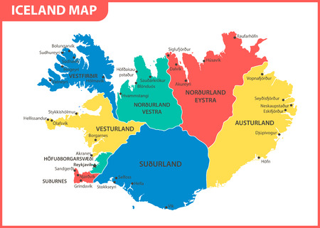 The detailed map of Iceland with regions or states and cities, capital. Administrative division Illustration
