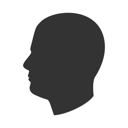 Silhouette of male head, man face in profile, side view