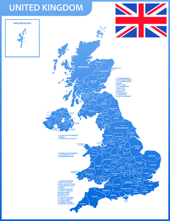 The detailed map of the United Kingdom with regions or states and cities, capitals. Actual current relevant UK, Great Britain administrative devision.