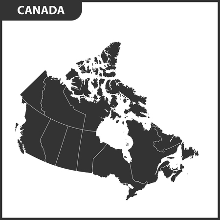 The detailed map of the Canada with regions or states 向量圖像