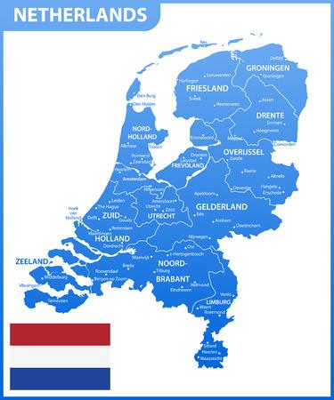 De gedetailleerde kaart van Nederland met regio's of staten en steden, hoofdstad. Administratieve afdeling.